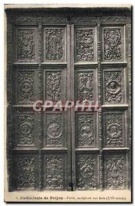 Old Postcard From Frejus Cathedral Door Carving wood