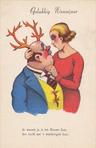 New Year Gelukkig Nieuwjaar Man With Antlers