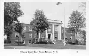 Belmont-Amity New York~Allegany County Court House~Man behind Flag Pole~RPPC