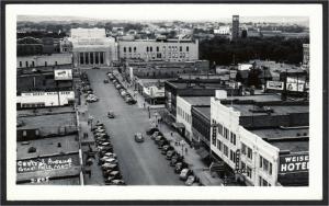 Great Falls MT Central Avenue Street Civic Center Hotel RPPC 1940s Cecil Nixon