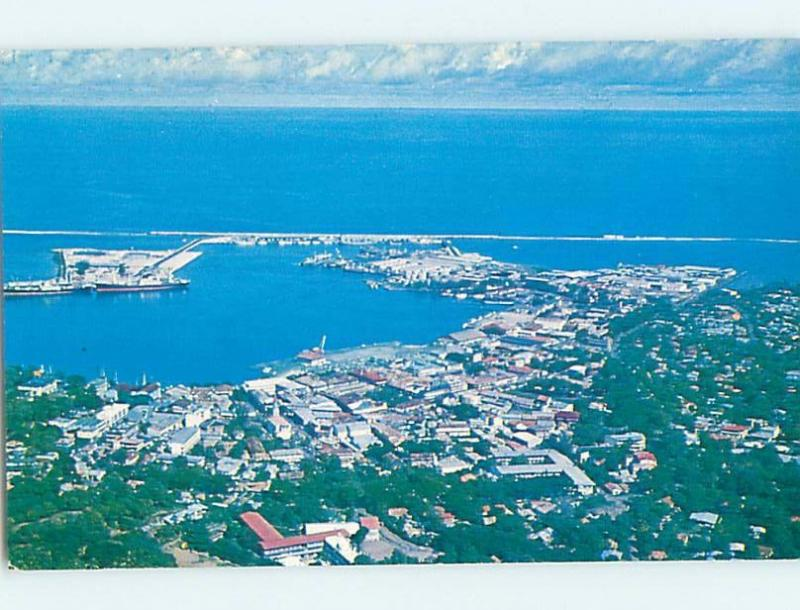 Unused Pre-1980 AERIAL VIEW OF TOWN Papeete Tahiti F8828