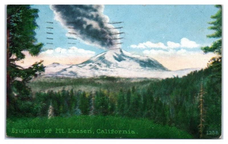 Eruption of Mt. Lassen, CA Postcard