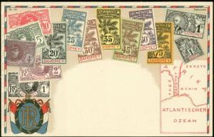 dahomey, Stamp Postcard, Coat of Arms, MAP (1910s) I