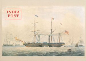 Old India Post Ship Royal Mail Stamp Advertising Poster Postcard