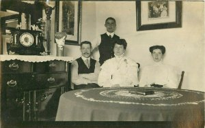 Postcard RPPC Family At Table