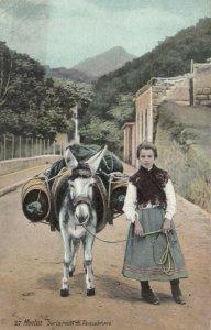 MENTON , France , 1900-10s; Sur la route de Roquebrune, Girl walking with donkey