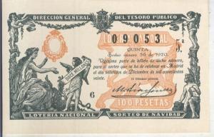 Postal 013687: Primer premio de la loteria nacional del 22.12.1920
