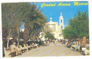 View from Plaza Benjamin Canales, Ciudad Acuna, Mexico,  40-60s