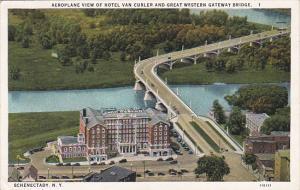 New York Schenectady Aeroplane View Hotel Van Curler and Great Western Gatewa...