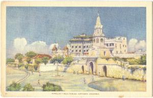 Murallas Y Reloj Publico, Cartagena, Colombia, unused Postcard