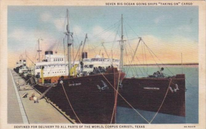 Texas Corpus Christi Seven Big Ocean Liners Taking On Cargo Curteich