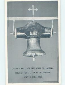 1950's CHURCH BELL ON POSTCARD St. Louis Missouri MO G4430