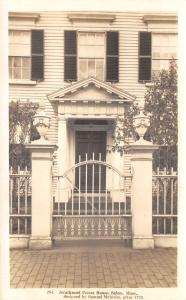 Salem MA 80 Federal St~Door Behind Wrought Iron Fence~Pierce House RPPC 1920s