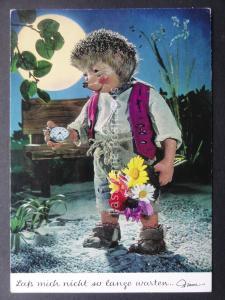 Mecki Hedgehog ROMANCE & FLOWERS THEME c1970/80's Postcard by Diehl Film 404