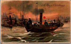 Gorgeous HTL working steamer boats fishermen wharves working harbor sunset flags