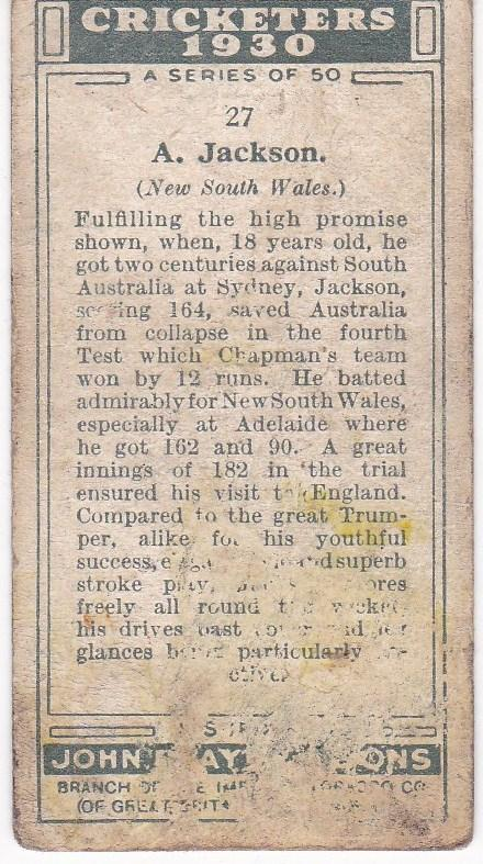 Cigarette Cards Player's Cricketers 1930 No 27 - A Jackson