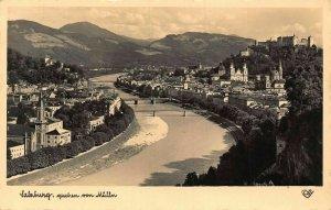 Salzburg Castle Church River Bridges Panoramic view Postcard