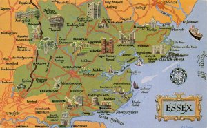 Map Postcard of ESSEX Southend, Colchester, Clacton, Chelmsford, Brentwood AT0