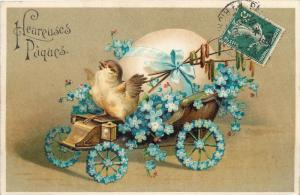 Embossed c1900s Easter chick floral car automobile egg Paques fantaisie