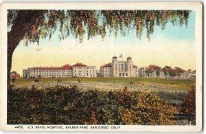US Naval Hospital, Balboa Park, San Diego CA - Navy - 1924 Postcard