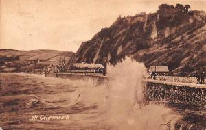 At Teignmouth, Rough Sea Storm Train, Railway 1920