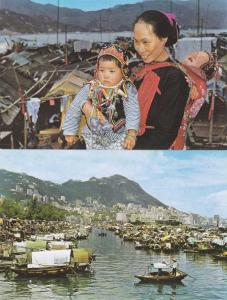 (2 cards) Hong Kong - Boat People - Causeway Bay Typhoon Shelter
