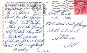 HOT SPRINGS ARKANSAS MILLION DOLLAR BATH HOUSE ROW AERIAL VIEW POSTCARD 1957