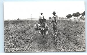 *Field Farmers Planting Sugar Cane Tractor Fiji Vintage Real Photo Postcard C86