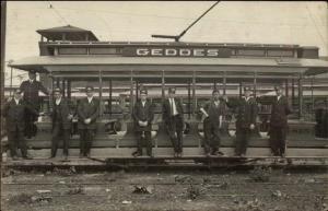 RR Trolley & Men Geddes Car Syracuse Onodoga Valley Cancel Positions on Back