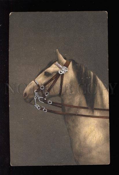 032571 White HORSE w/ Silver Bridle. Vintage PC