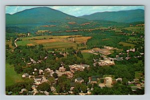 Manchester Center VT-Vermont, Aerial Town Scenic Mountain View, Chrome Postcard