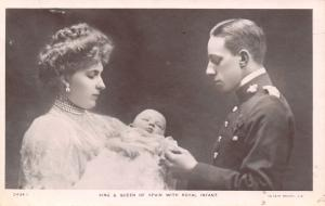 Royalty~King Alfonso XIII~Queen Victoria Eugenie~Baby Prince~Asturias~1907 RPPC