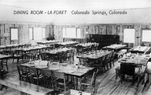 Dining Room La Foret Colorado Springs Colorado 1940s Postcard RPPC 3442