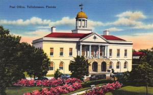 Post Office, Tallahassee, Florida, Early Linen Postcard, unused