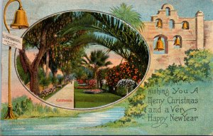 California Merry Christmas and Happy New Year Greetings Showing Streeet Scene...