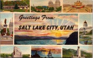 Greetings from Salt Lake Utah 1951 vintage Linen Large Letter UNPOSTED POSTCARD