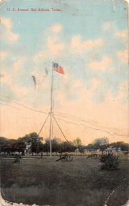 Texas, San Antonio, flag, cannons U.S. Arsenal 1910