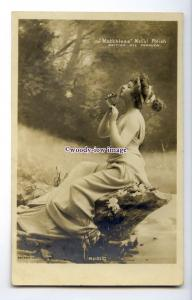 b6004 - Advert - Music Nymph in the Wood, Matchless  Metal Polish - postcard