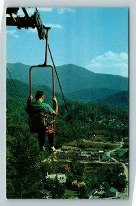 Gatlinburg TN- Tennessee, Sky Lift at Lookout Mountain, Chrome Postcard