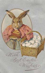 Mother Rabbit with Basket of Eggs With Best Easter Wishes Greetings pm 1908 UDB
