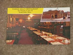 Famous Bill`s Restaurant on Routes 5 & 10 Greenfield, Mass. Unused