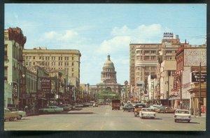 Congress Avenue street view old cars Austin Texas tx old chrome Postcard #5