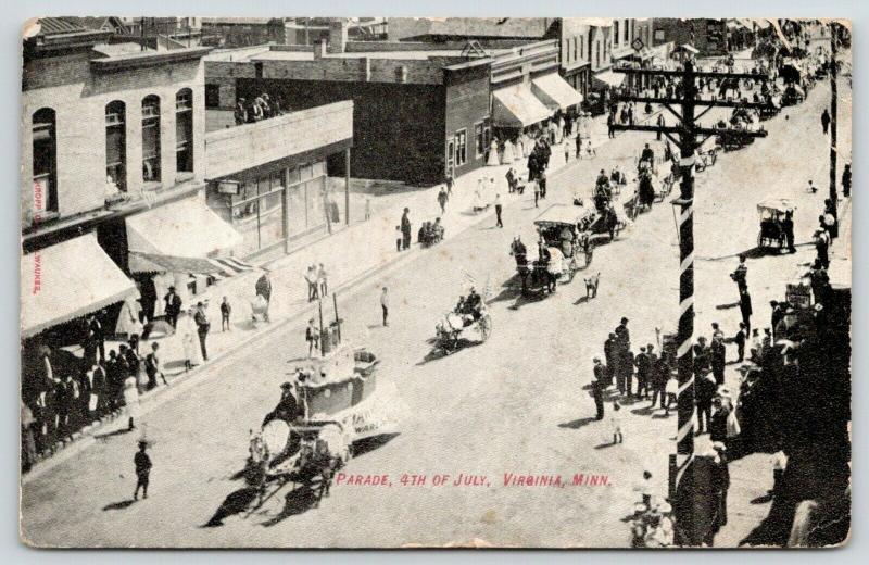 Virginia MN~Main Street~July 4th Parade~Lead Float Boat~Men Watch From Roof~1908