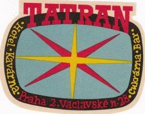 Czechoslovakia Praha Hotel Tatran Vintage Luggage Label sk4314