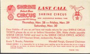 JACKSONVILLE - SHRINE CIRCUS ADVERT. - 1957 / Polact Brother CIRCUS