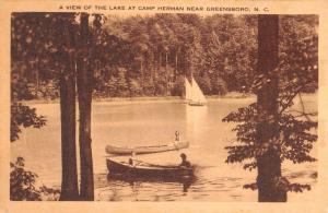Greensboro North Carolina Camp Herman Boats Antique Postcard K72416