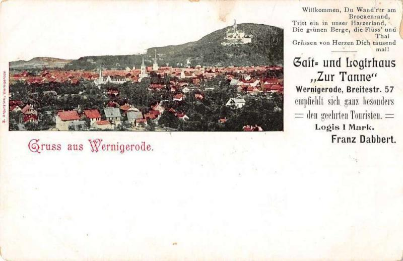 Wernigerode Saxony-Anhalt Germany Gruss aus scenic view antique pc Z17892