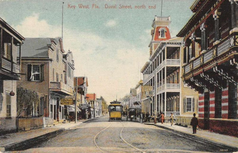 Key West Florida Duval Street North End Trolley Vintage Postcard AA387
