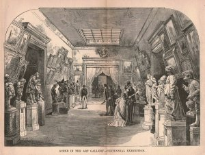 1876 Victorian Gallery Statues Wp Snyder Philadelphia Fold-out Engraving 2T1-57