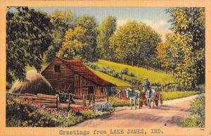 Lake James Indiana Cabin Roadway Greeting Antique Postcard K77164